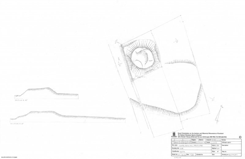 RCAHMS measured survey. 1:250 plan and sections of Coulter Motte Hill, Wolfclyde.