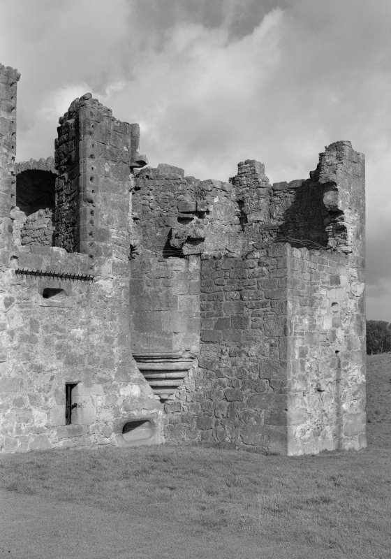 View of corbelled stair turret at east range, Crichton Castle