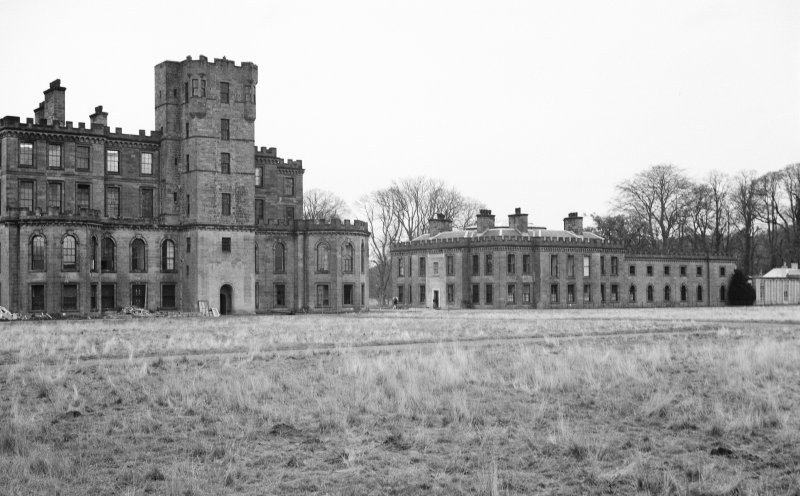 View from South West of central and East block of Gordon Castle during demolition work
