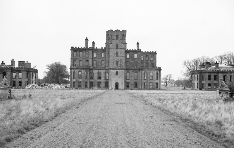 View of South front of central block of Gordon Castle during demolition work