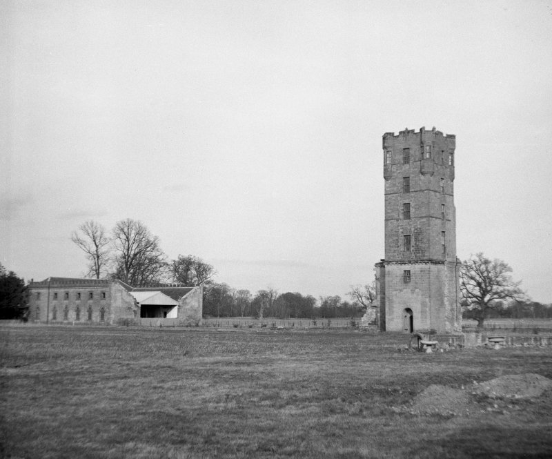 View from south east of tower and farm at Gordon Castle after demolition