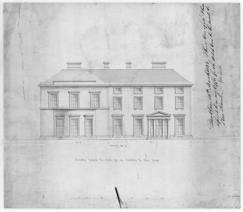 Drawing showing South elevation of proposed addition to Keir House.