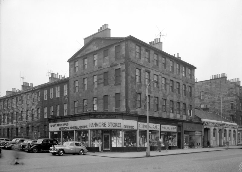 View of corner site of Leith Walk and Smith's Place, Edinburgh showing Hanmore Stores, Alhambra Cafe, The Wool Shop,  H C Small and DBC Bacon