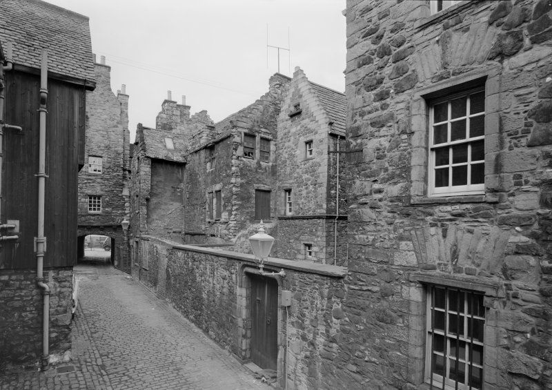 View of Bakehouse Close from South East also showing rear of Huntly House and Acheson House, Edinburgh