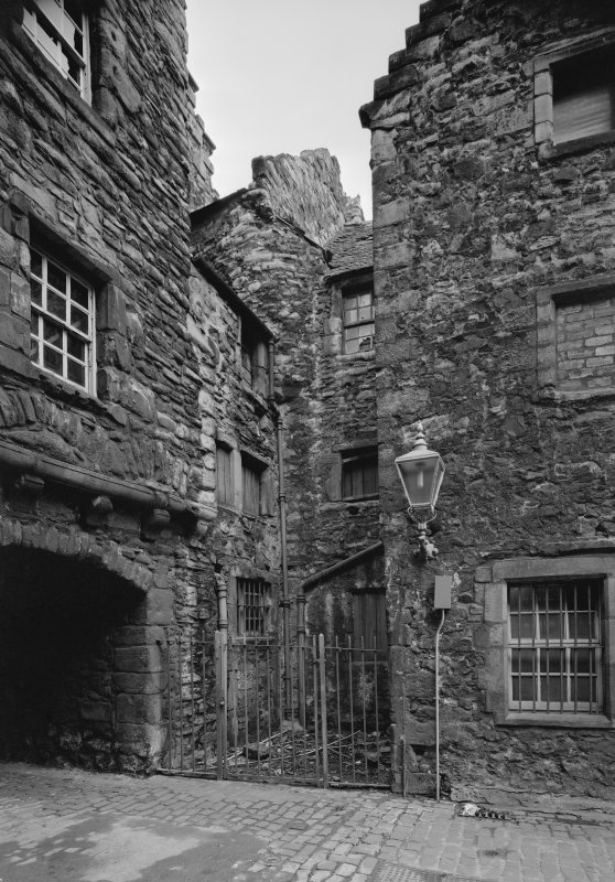 View of Bakehouse Close, from South West, also showing rear of Huntly House and Acheson House, Edinburgh