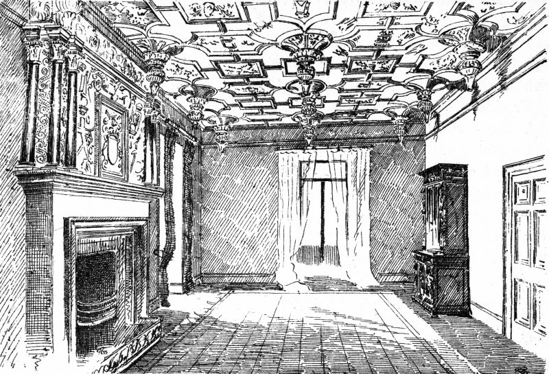 Photographic copy of drawing showing interior view of drawing room.