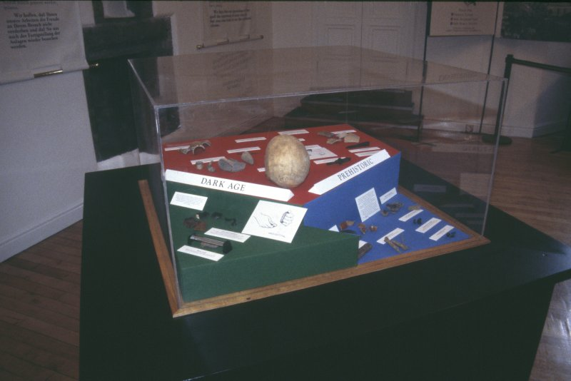 Edinburgh Castle. Exhibition of Edinburgh Castle 1989 excavations, general shot of the display boards and the display case.