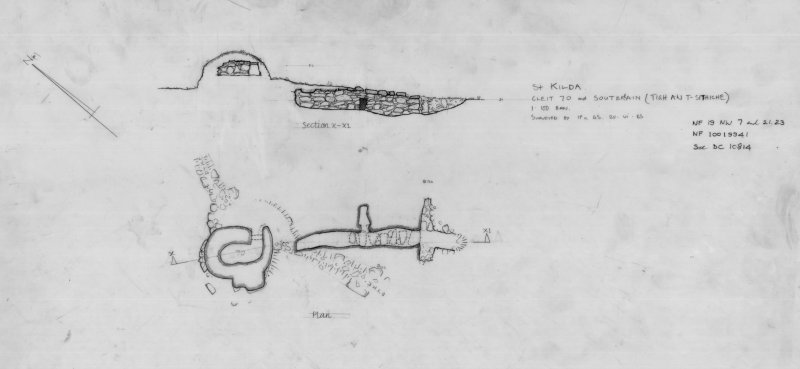 St Kilda Village. Survey drawing of souterrain (Taigh an t-Sithiche) and Cleit 70.
