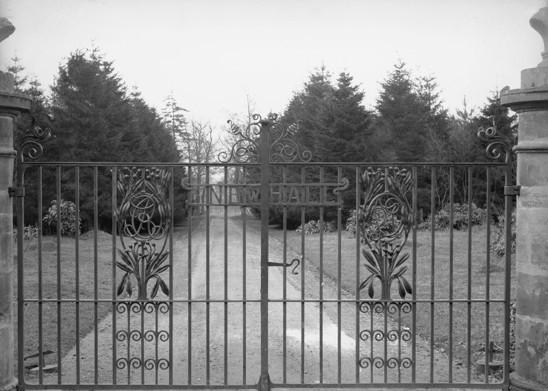 View of wrought iron gates at entrance to Newhall House, Carlops