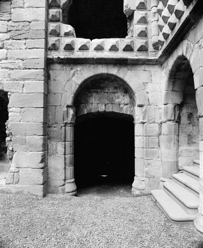 Detail of doorway in courtyard, Crichton Castle