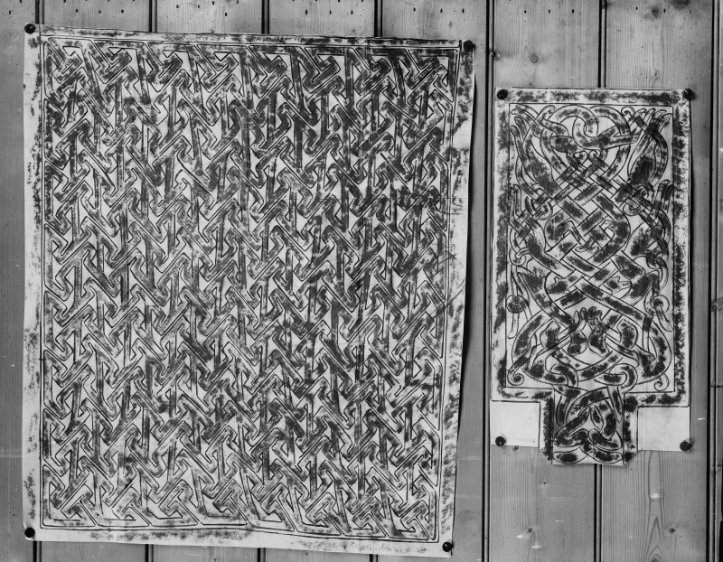 Photographic copy of two rubbings showing detail of the Farr cross slab and an unidentified stone