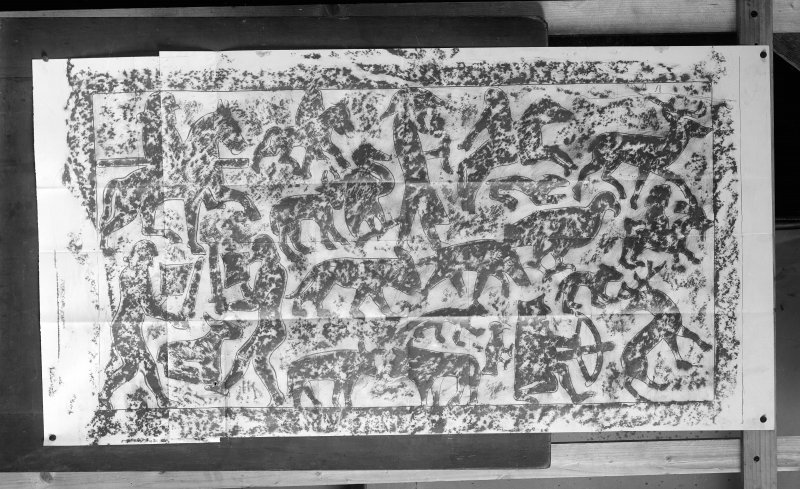 Photographic copy of rubbing showing detail of the reverse of the Shandwick Pictish cross slab