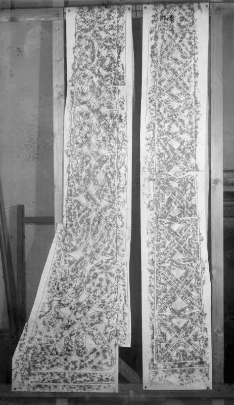 Photographic copy of two rubbings showing side panels of the Maiden Stone Pictish cross slab