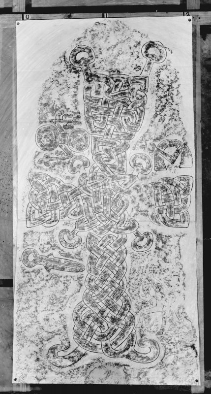 Photographic copy of rubbing showing the face of Migvie Pictish cross slab