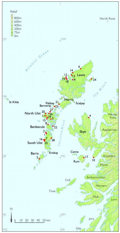 Tif copy of map of the Western Isles of Scotland showing the sites featured in chapter 3 of St Kilda The Last and Outmost Isle
