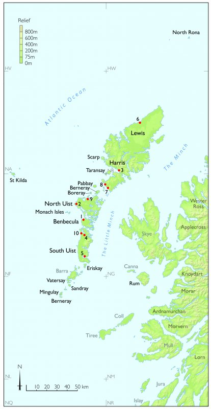 Tif copy of map of the Western Isles of Scotland showing the sites featured in chapter 7 of St Kilda The Last and Outmost Isle