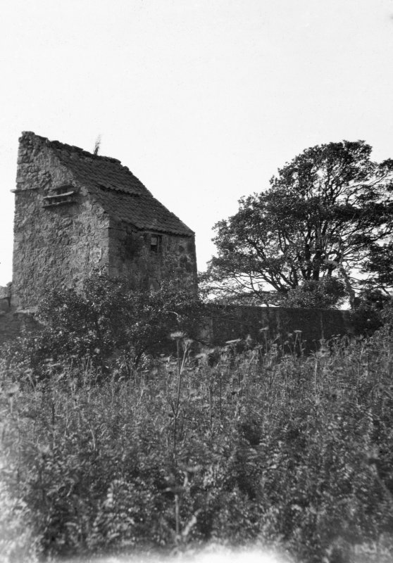 View of the dovecot at Saltcoats Castle, Gullane, from SW.