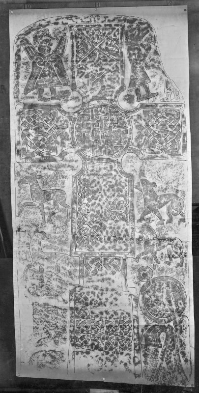 Photographic copy of a rubbing showing the face of Glamis no.1 Pictish cross slab