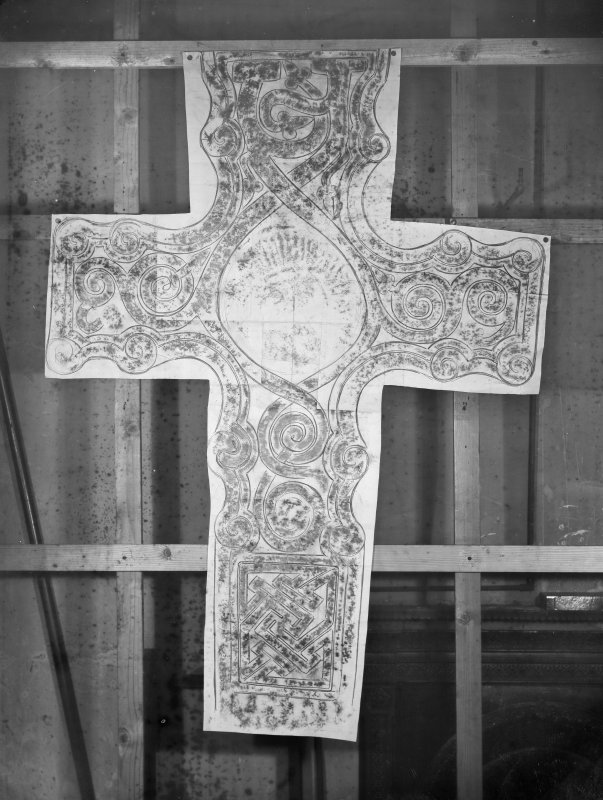 Photographic copy of rubbing showing the reverse of the Dupplin Cross