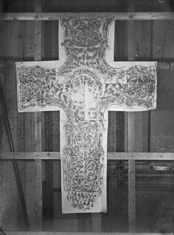 Photographic copy of rubbing showing the face of the Dupplin Cross