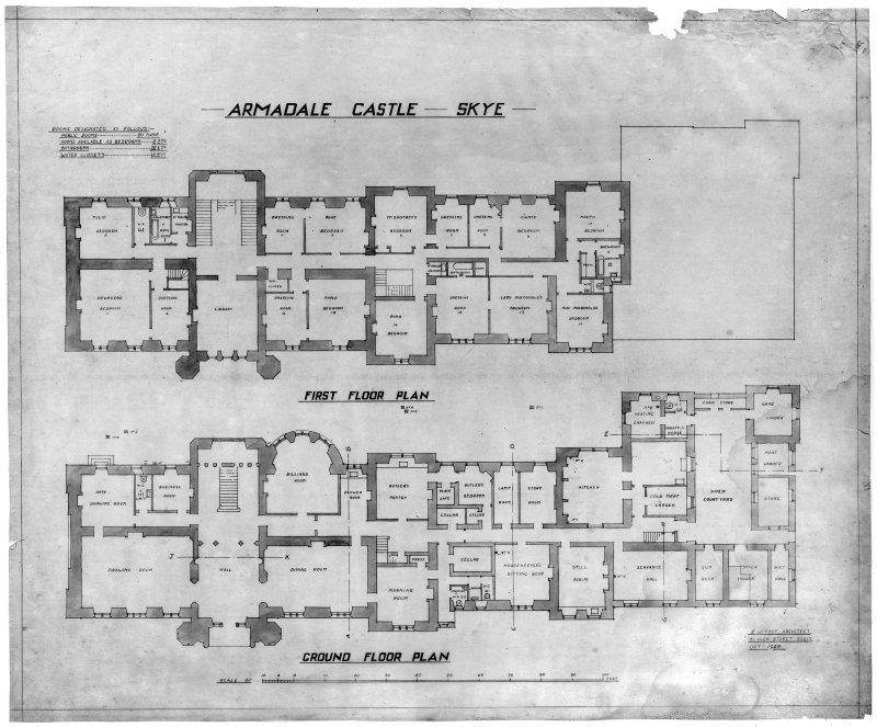 Ground floor plan and first floor plan  Skye, Armadale Castle. Insc: 'Armadale Castle - Skye. J. Wittet, Architect, 81 High Street, Elgin. Oct 1928'