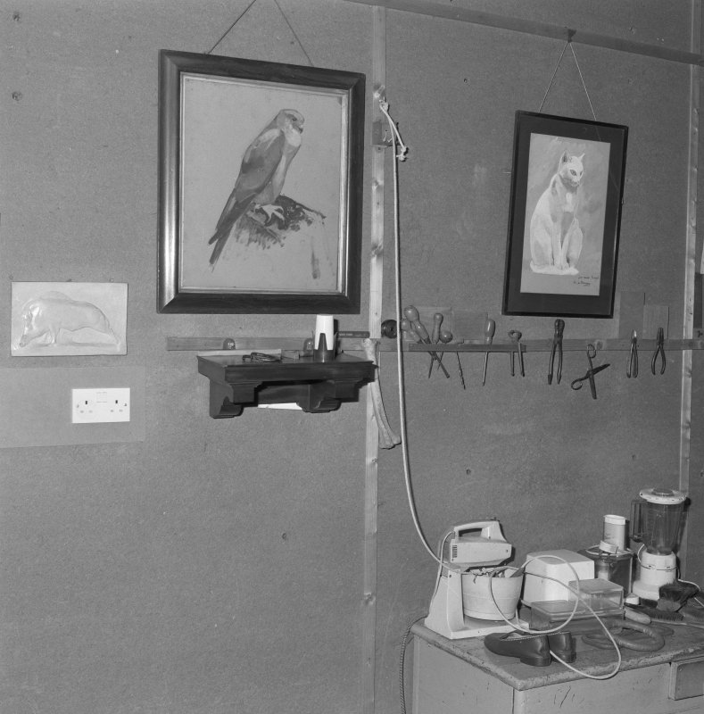 First floor, studio, wall, paintings and tools, detail