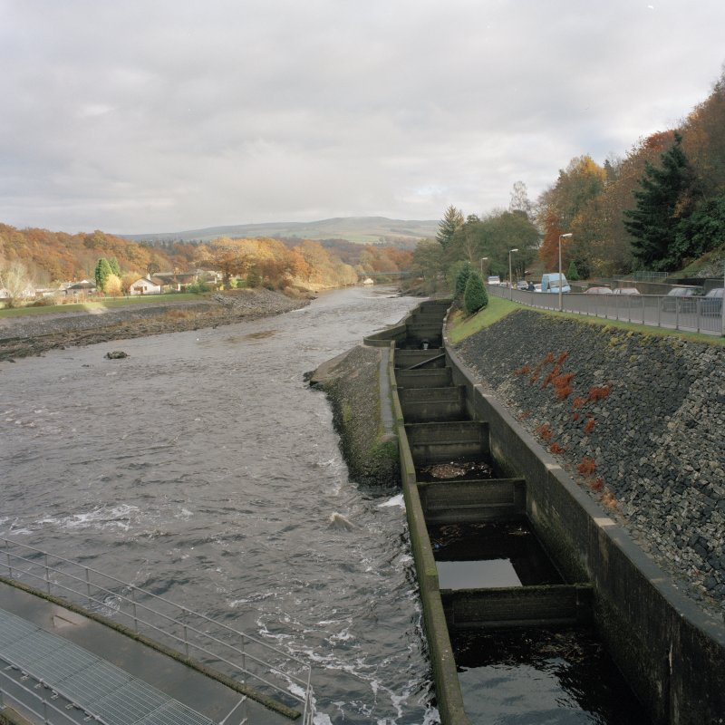 General view of N 'pool and orifice' type fish ladderr from W