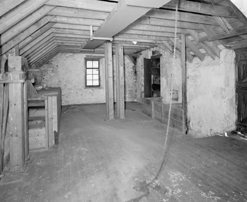Interior. View at upper floor level within mill.