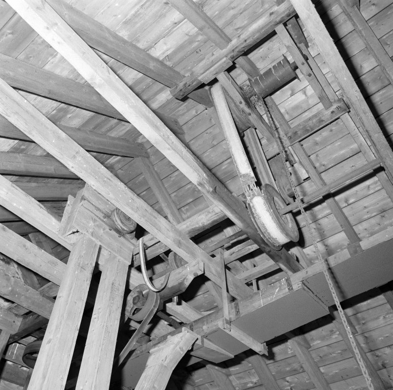 Interior. View of roof space showing sack-hoist mechanism.