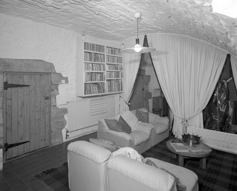 Interior. View of ground floor vaulted family room from N.