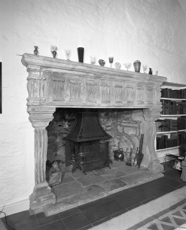Interior. Detail of Great Hall fireplace.