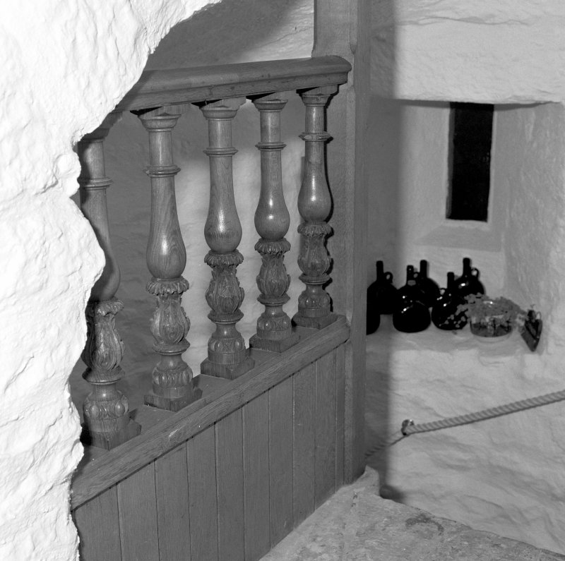 Interior. Third floor landing detail of balustrade.