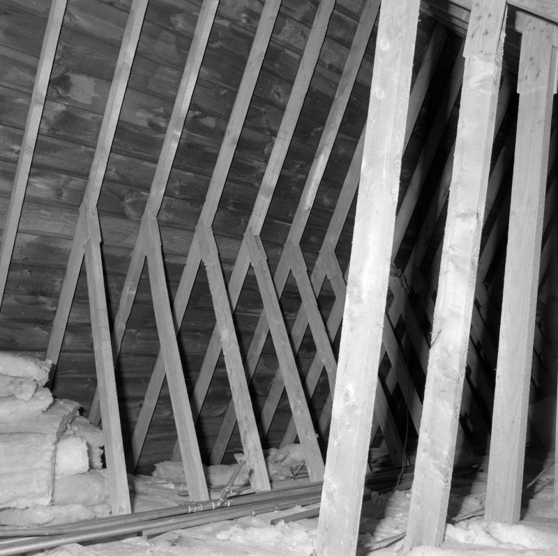 Interior. Detail of roof structure.