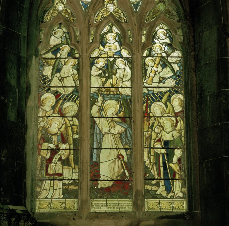 South wall, stained glass window, detail