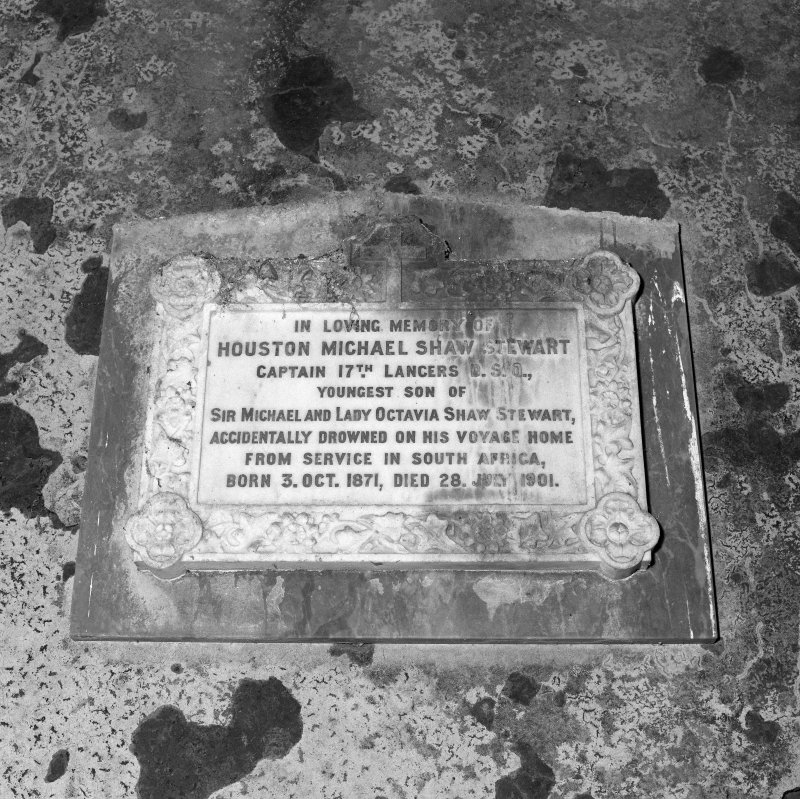 "Commemorative plaque (""In loving memory of Houston Michael Shaw Stewart""), detail"