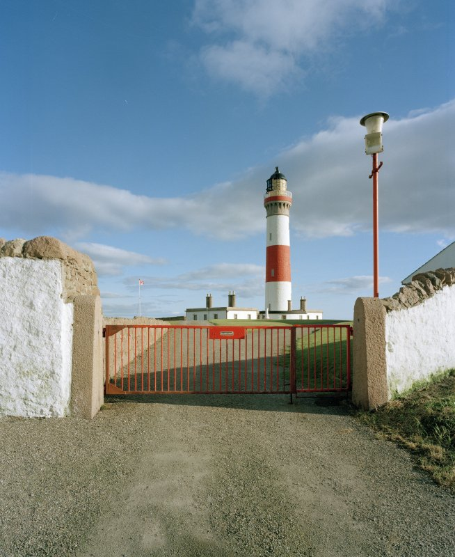 Boddam, Buchan Ness Lighthouse View of lighthouse from west, through gate to compound