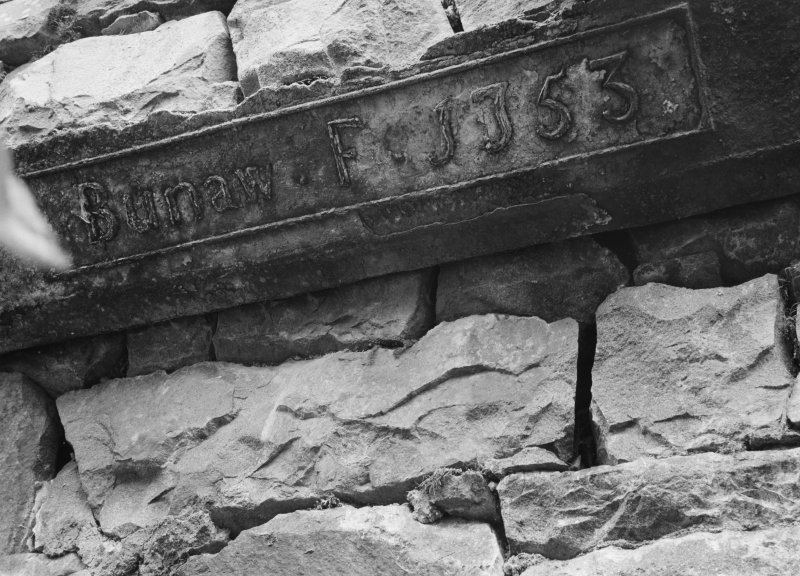 Detail of lintel of furnace dated 1753, Bonawe Ironworks