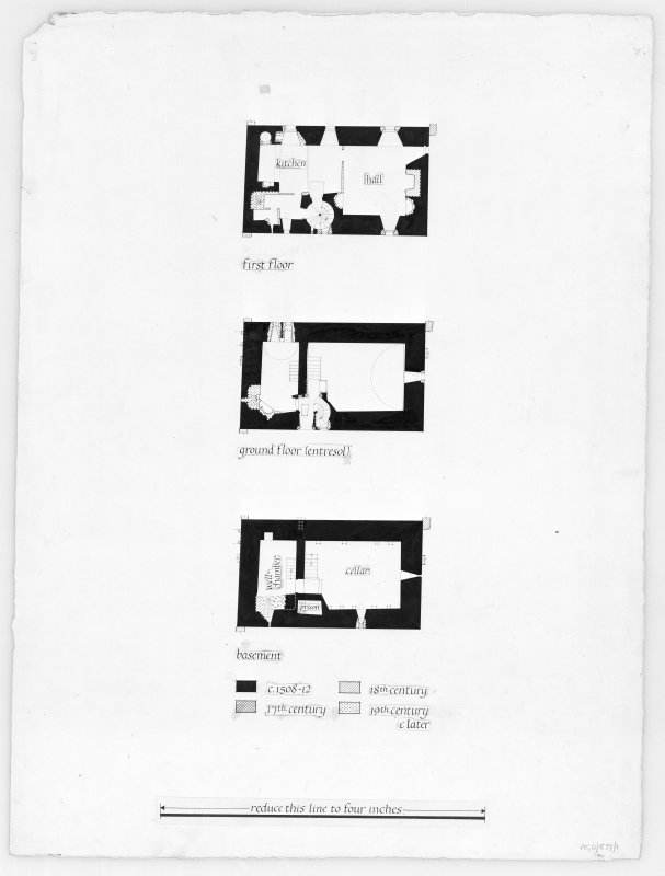 Argyll, Saddell Castle. Photographic copy of three floor plans.