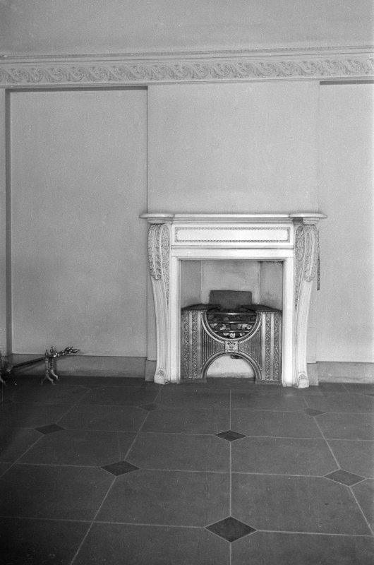 Fireplace in vestibule