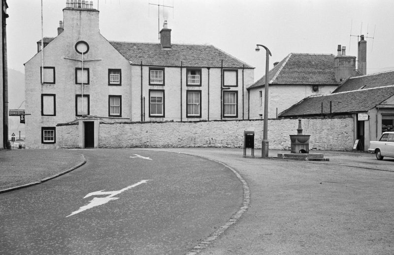 View of of the rear of George Hotel, Inveraray, showing garden wall and kitchen