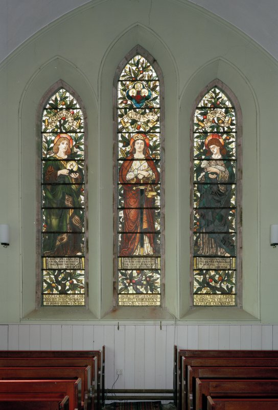 View of W 3-light stained glass window