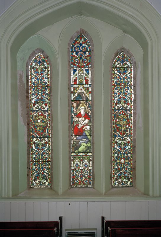 View of N 3-light stained glass window