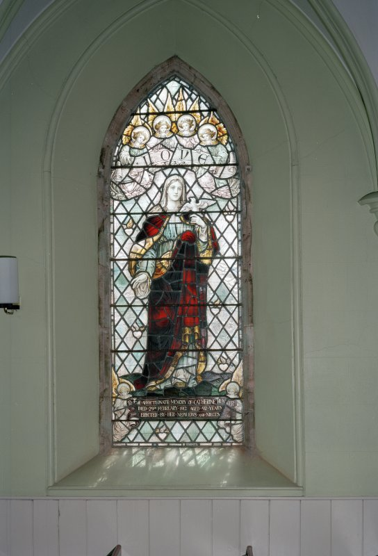 View of S stained glass window