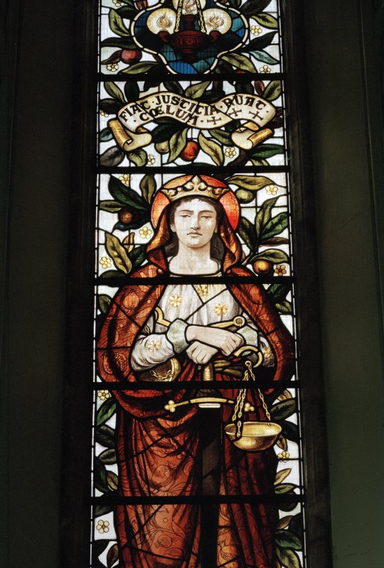W stained glass window, detail