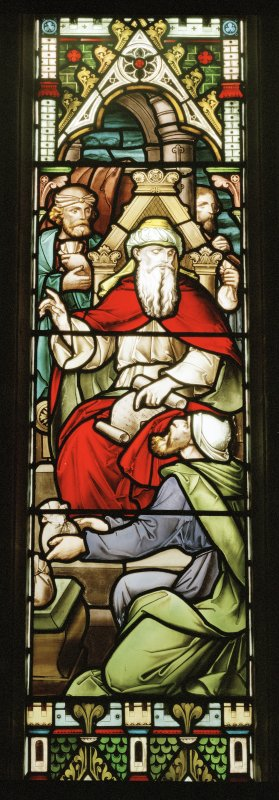 N stained glass window, detail