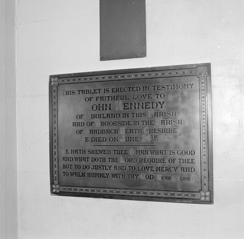 Wall, memorial plaque to John Kennedy, detail