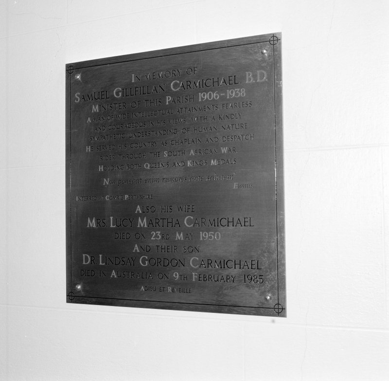 Wall, memorial plaque to Carmichael family, detail