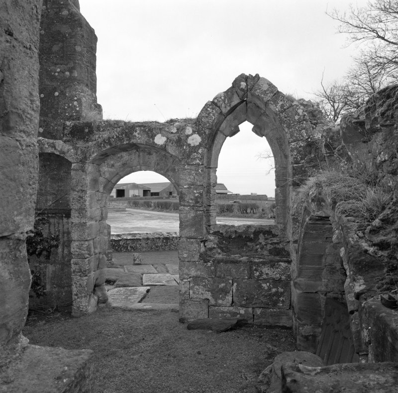 Fearn Abbey.  South East aisle, view of interior from West.