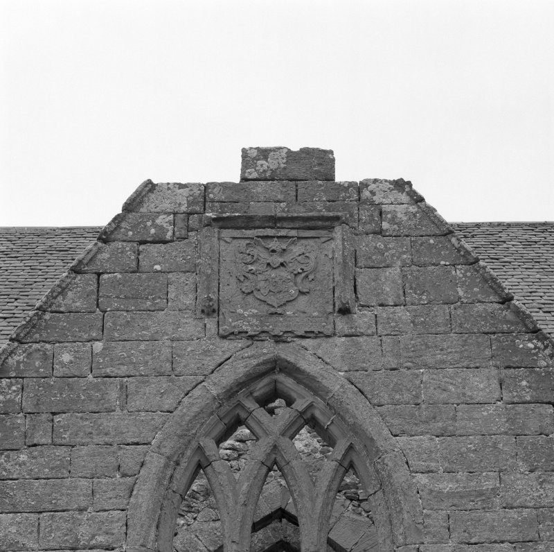 Fearn Abbey.  Ross aisle, detail of Ross armorial, North gable.