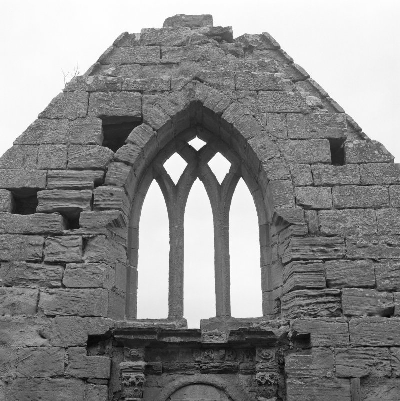 Fearn Abbey.  Ross aisle, detail of traceried window, North gable, from South.